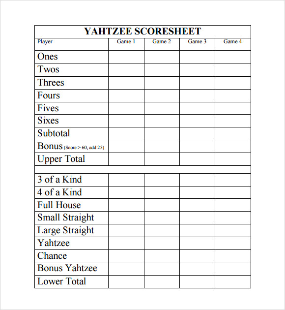 photo regarding Printable Yahtzee Score Sheets Pdf identified as Free of charge 9+ Pattern Yahtzee Rating Sheet Templates within Google Docs