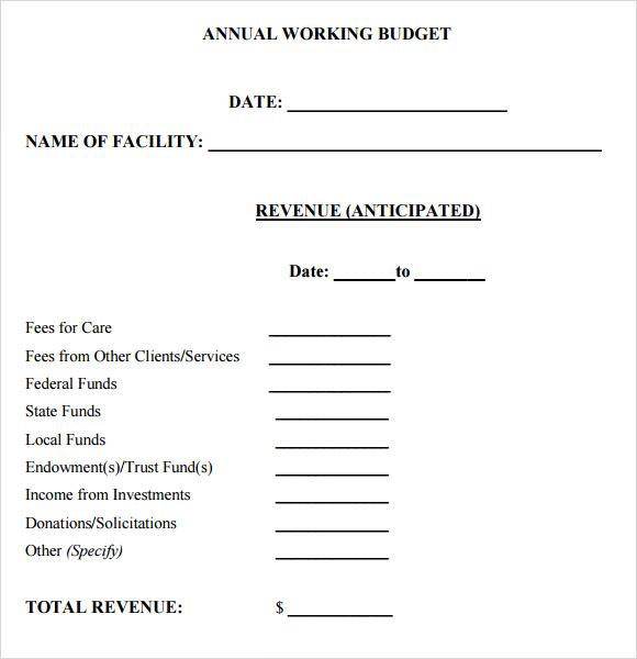 yearly budget Vertom – Sample Yearly Budget