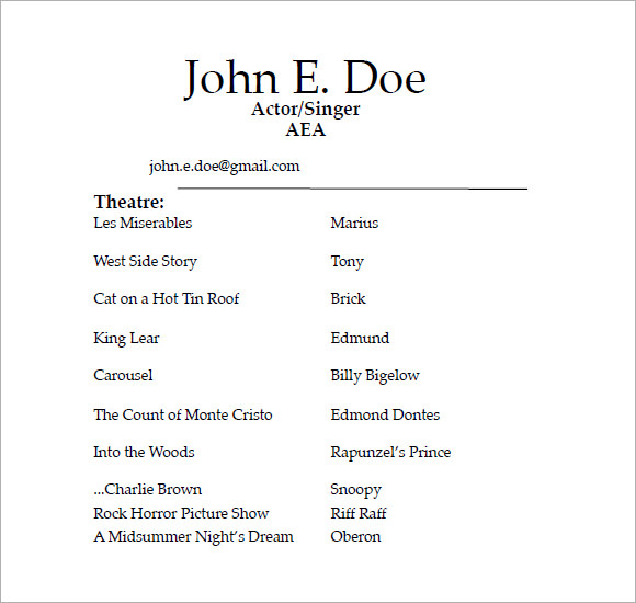 musical theatre resume template free acting samples tech sample templates sample acting resume - Sample Musical Theatre Resume