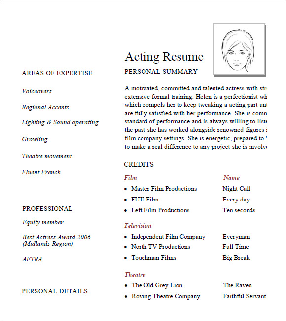 Sample Acting Resume   Documents In Pdf Word