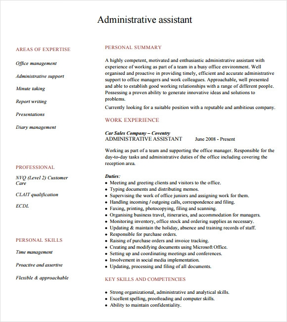 9 Administrative Assistant Resume Templates Free Samples