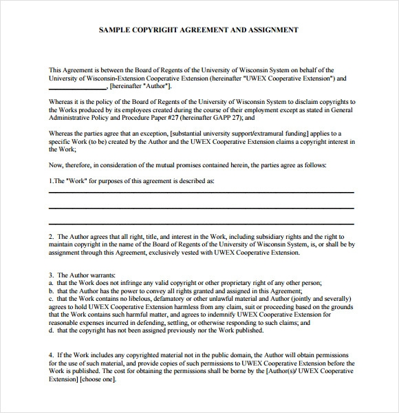 6 sample assignment agreements sample templates for Copyright contract template free
