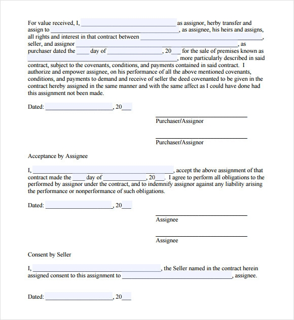 Sample Assignment Agreement   Documents In Pdf
