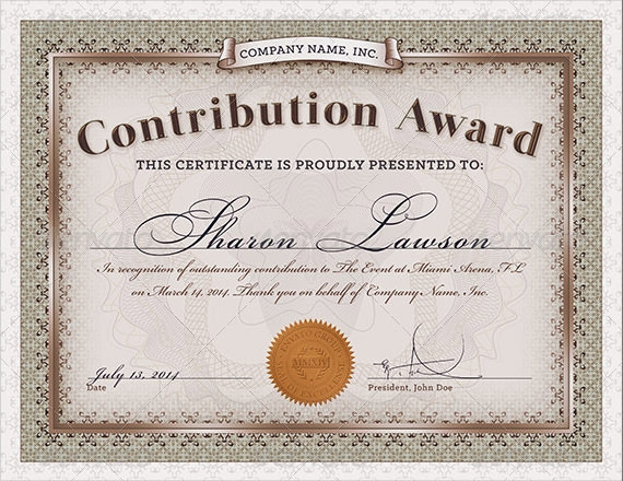 Sample Award Certificate Template 9 Samples Examples Format – Examples of Award Certificates