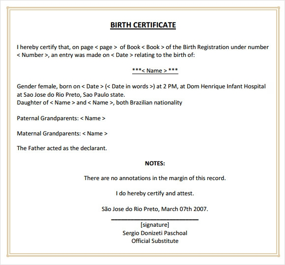 Sample Birth Certificate Template