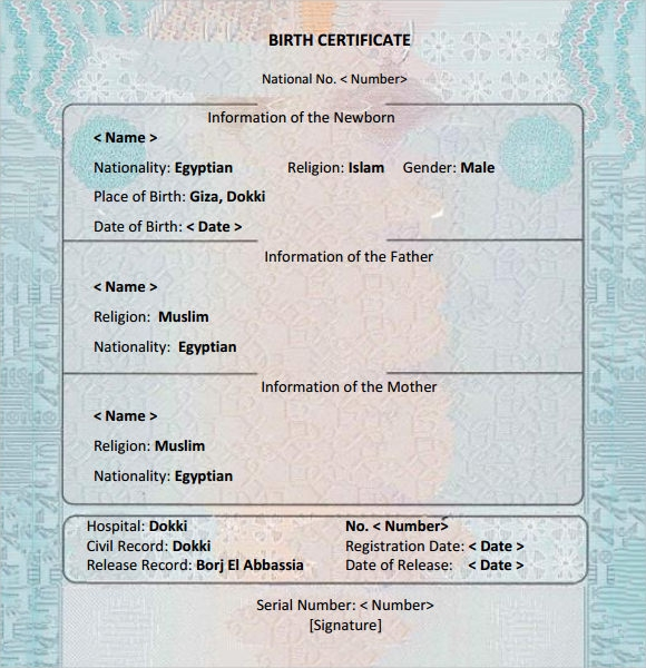 7 birth certificate templates � free examples samples