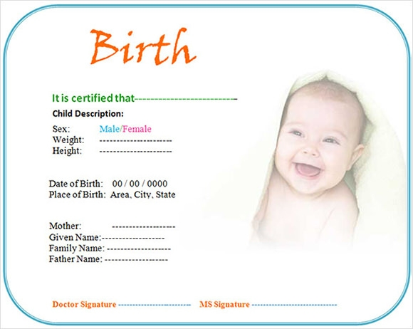 Birth Certificate Template Word  Birth Certificate Template Word
