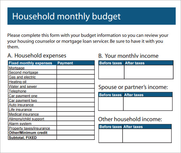 Sample Household Budget   Documents In Pdf Word