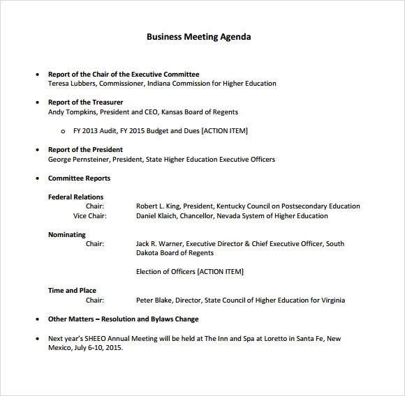 6 business meeting agenda templates  u2013 free samples