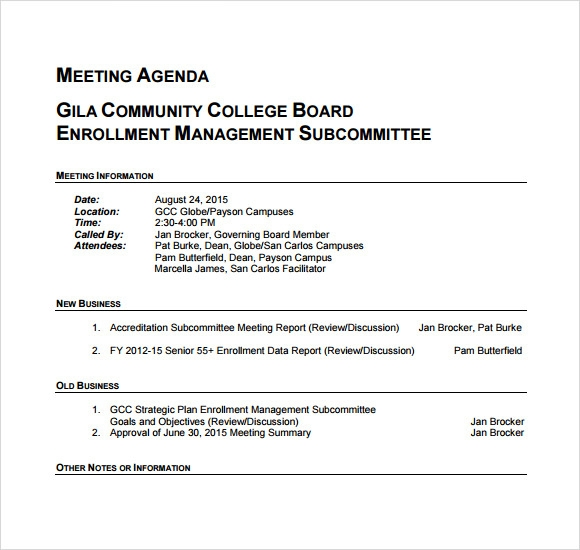 Business Meeting Agenda Sample  Agenda For Meeting Template
