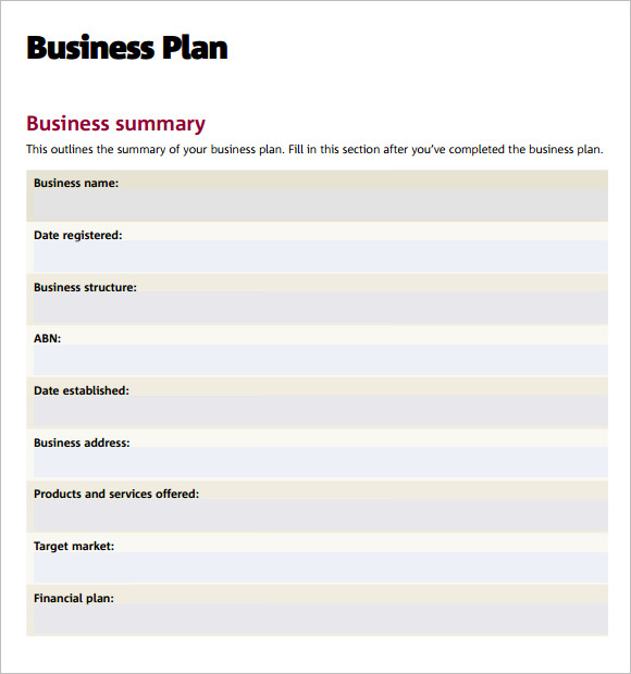 7 sample business plan templates sample templates for Free buisness plan template