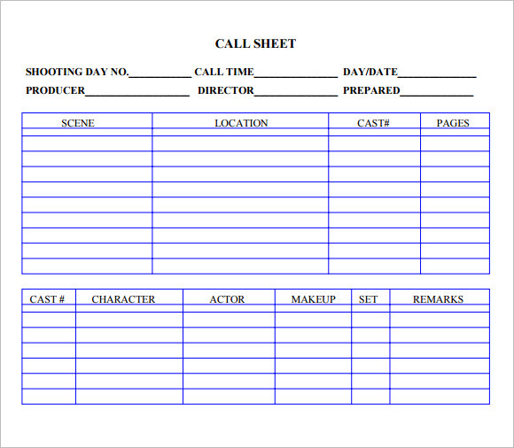 Call Sheet Template     7  Free Samples Examples Format Sample HN3pRiuM