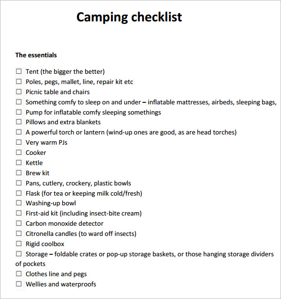 9 camping checklist samples sample templates