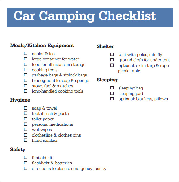 Sample Camping Checklist   Documents In Word Pdf