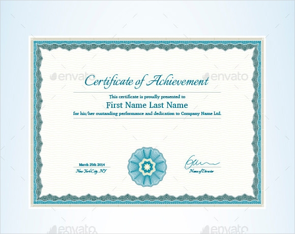 certificate of achievement example