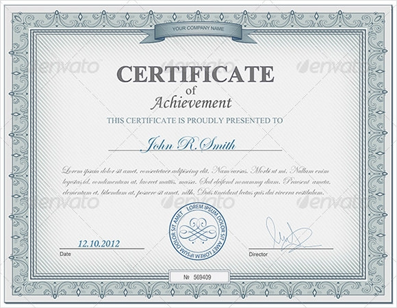 certificate of achievement psd