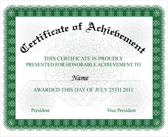 certificate of achievement wording example