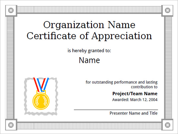 Certificate Of Appreciation Template Free  Certificate Of Appreciation Word Template