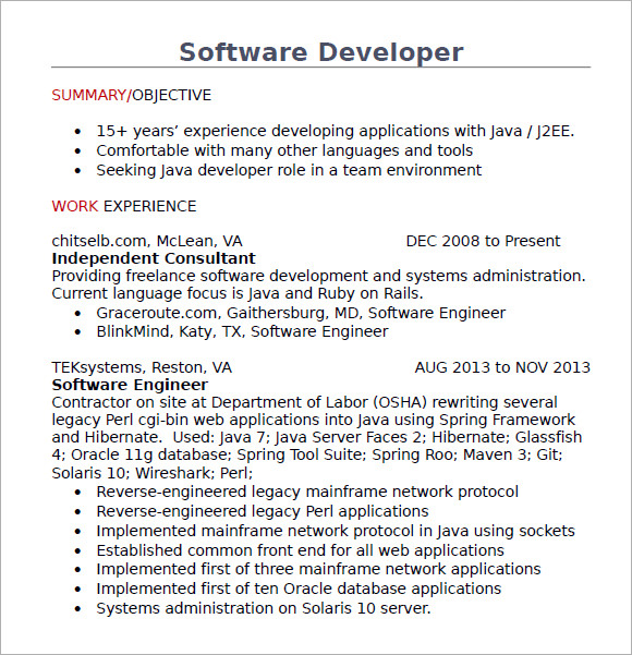 Free 10 Java Developer Resume Templates In Ms Word Pdf