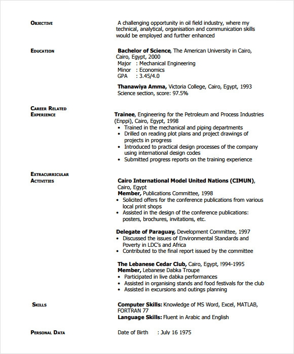 Download free chronological resume