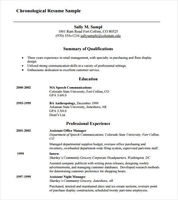 Examples First Job Resume Templates: 10 Chronological Resume Templates