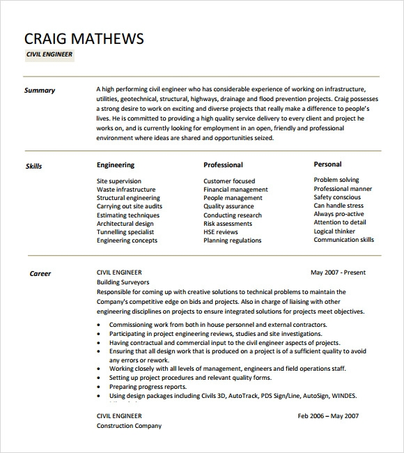 Sample Civil Engineer Resume   Free Samples  Examples  Format