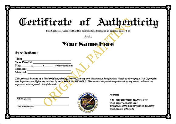 16 sample certificate of authenticity documents in pdf psd the certificate of authenticity sample template can be downloaded easily for use details like artists name and address of gallery can be edited yadclub Choice Image