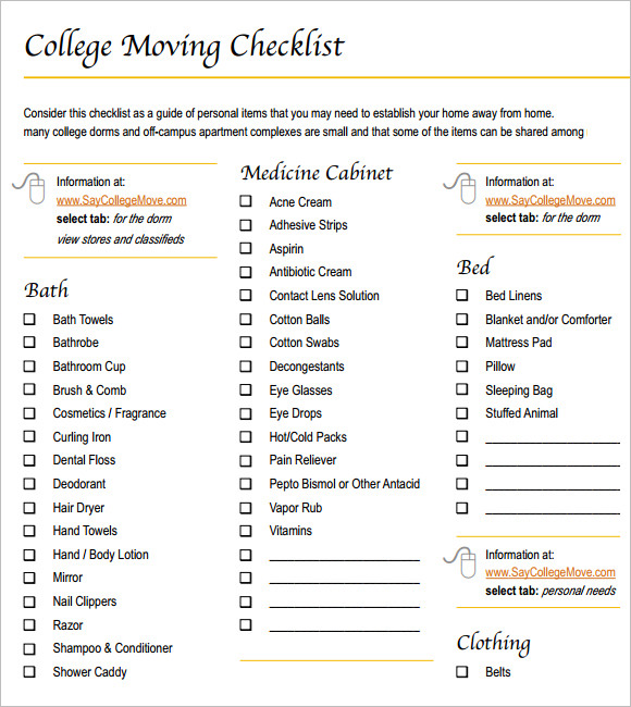 Sample Dorm Room Checklist –7+ Documents In Pdf, Word