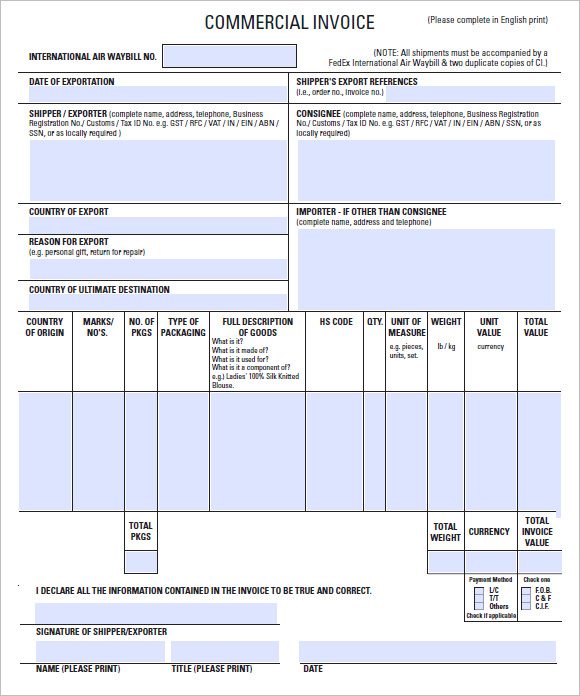 Commercial Invoice Template PDF Download  Printable Commercial Invoice