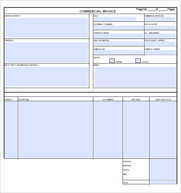 commercial invoice template 3