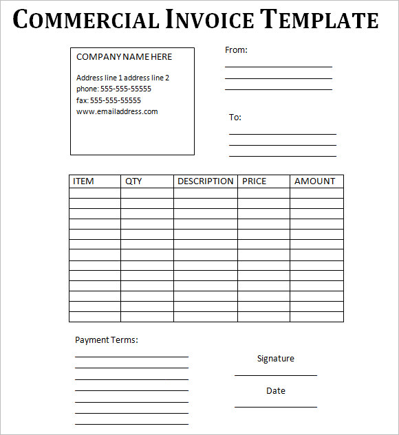 Commercial Invoice Template – 8+ Free Samples , Examples , Format