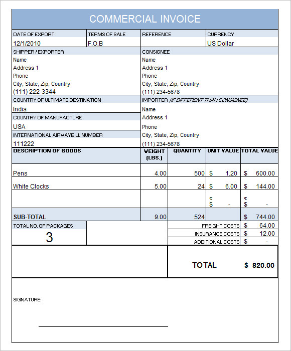 Commercial Invoice Template   Free Samples  Examples  Format
