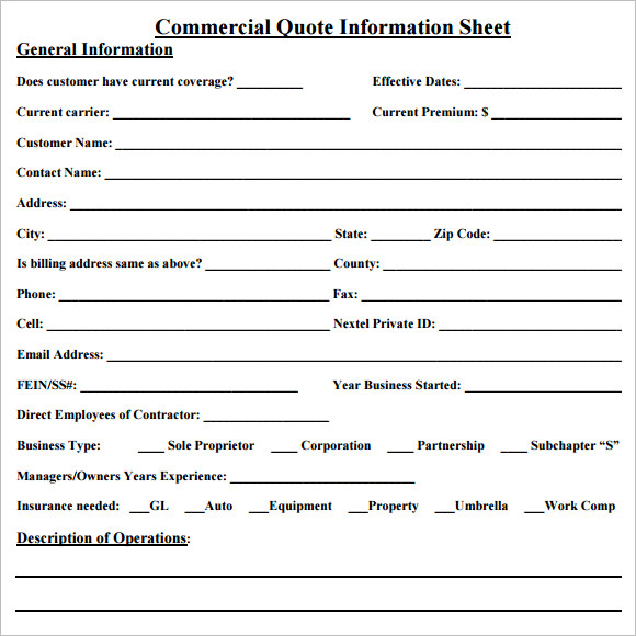 Quote Sheets  BesikEightyCo