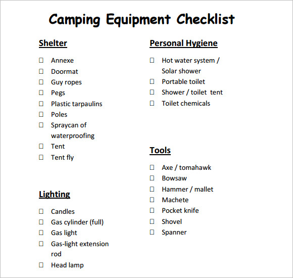 Camping Equipment Checklist Example