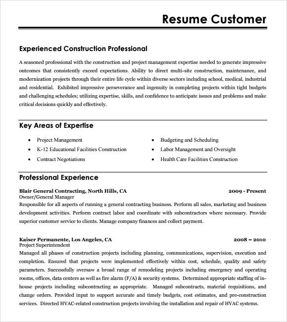 Sample Construction Resume Template   Free Documents In Pdf Word