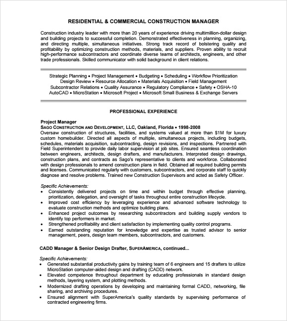Resume Template Construction – Construction Resume Template