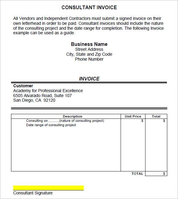 9 Consulting Invoice Samples Examples Templates Sample Templates