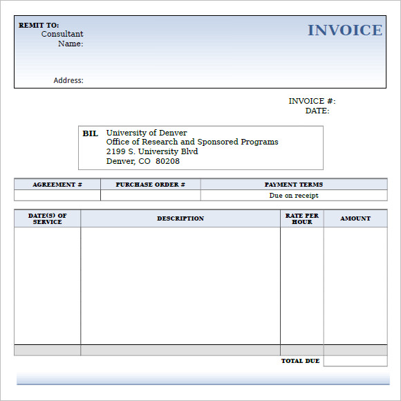 Fillable Invoice Template Insssrenterprisesco - Consultant invoice template