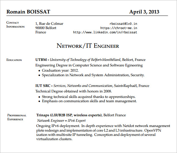 network engineer resume 8 free sles exles format