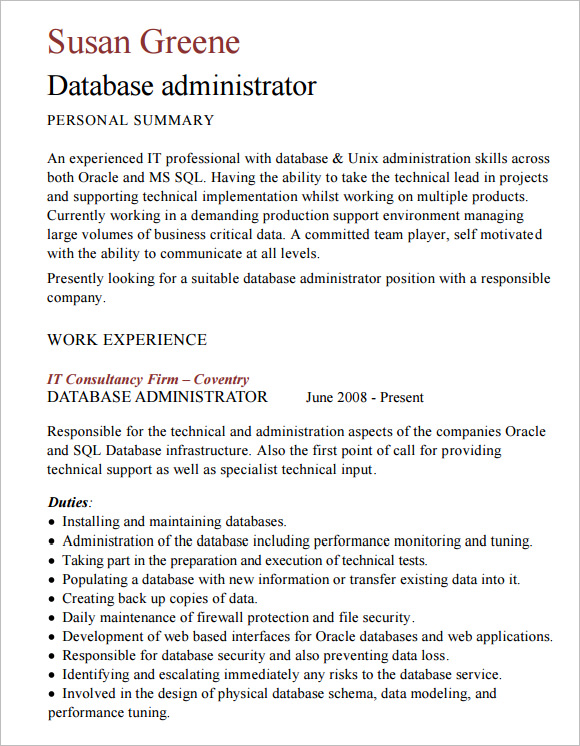 database administrator resume template