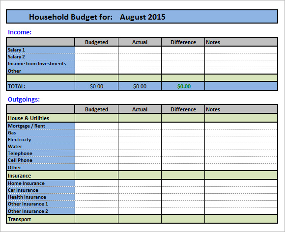 11+ Household Budget Samples | Sample Templates