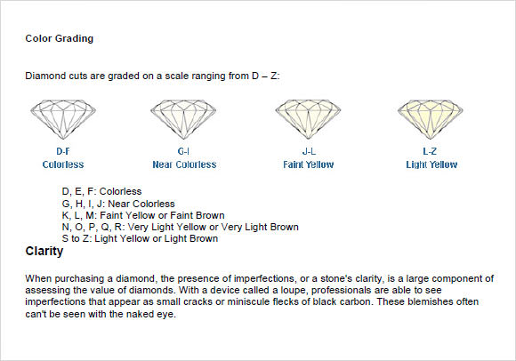 Sample Diamond Chart Diamond Quality Chart Templates Sample Diamond
