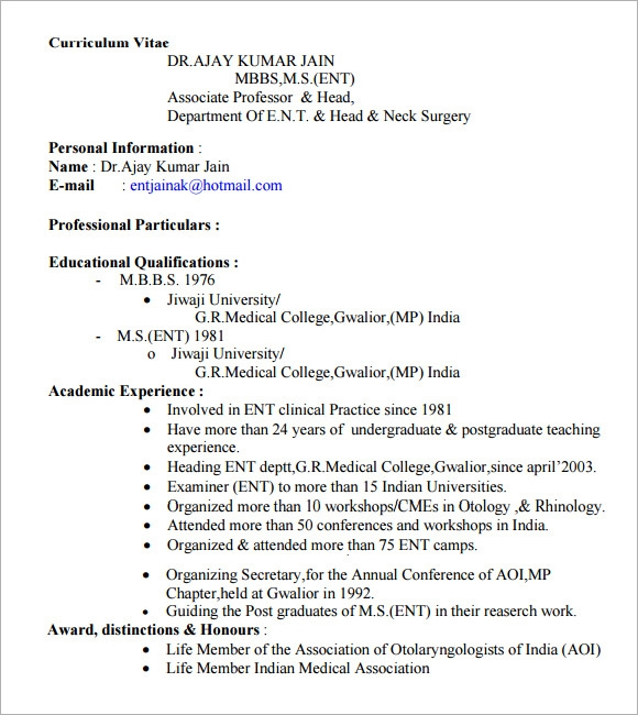 Doctor Resume – 7+ Free Samples , Examples , Format | Sample ...