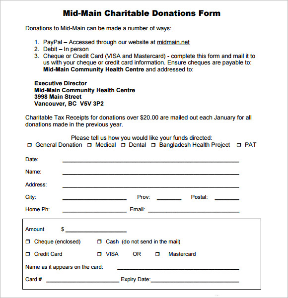 10  sample donation sheets