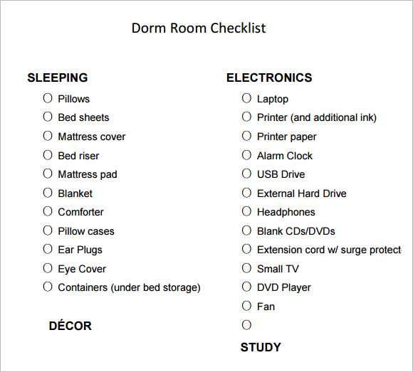 Dorm Room Checklist For Guys - Bedroom Design
