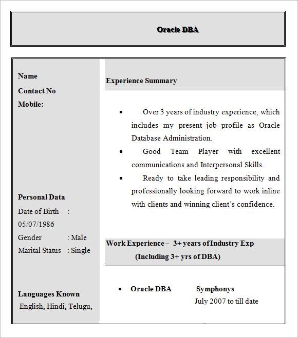 Dba Resume Resume Format Download Pdf