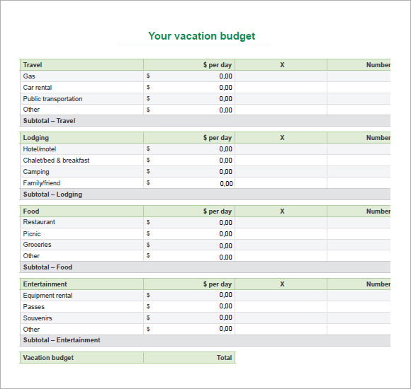 8 Travel Budget Template Free Samples Examples