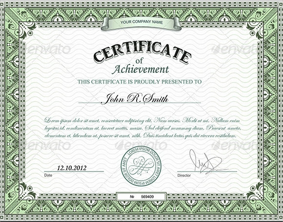 9 certificate of achievement templates sample templates for Template for a certificate of achievement