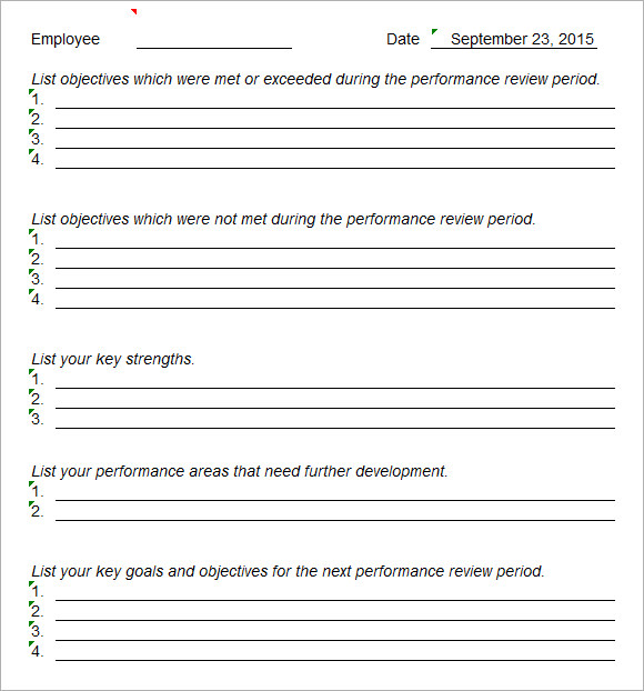 Staff Evaluation 9 Free Samples Examples Format – Free Performance Review Templates