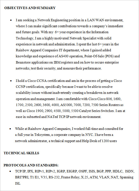 Resume Sample      Senior Telecommunications Engineering     Click Here to Download this Junior Network Administrator Resume Template   http   www